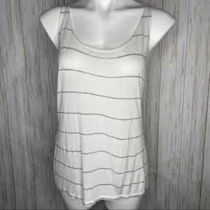 🍋 French Pastry white & gray striped racer back M